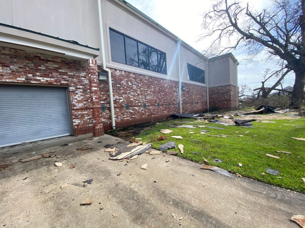 Debris from wind damage