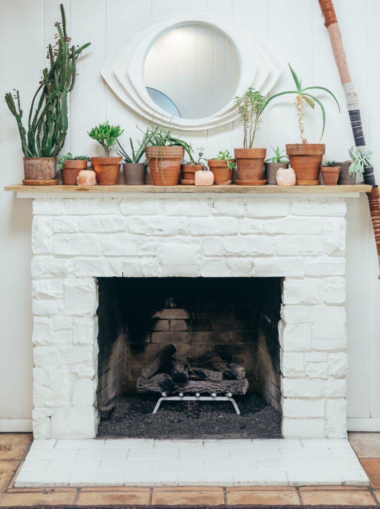 fireplace with white bricks