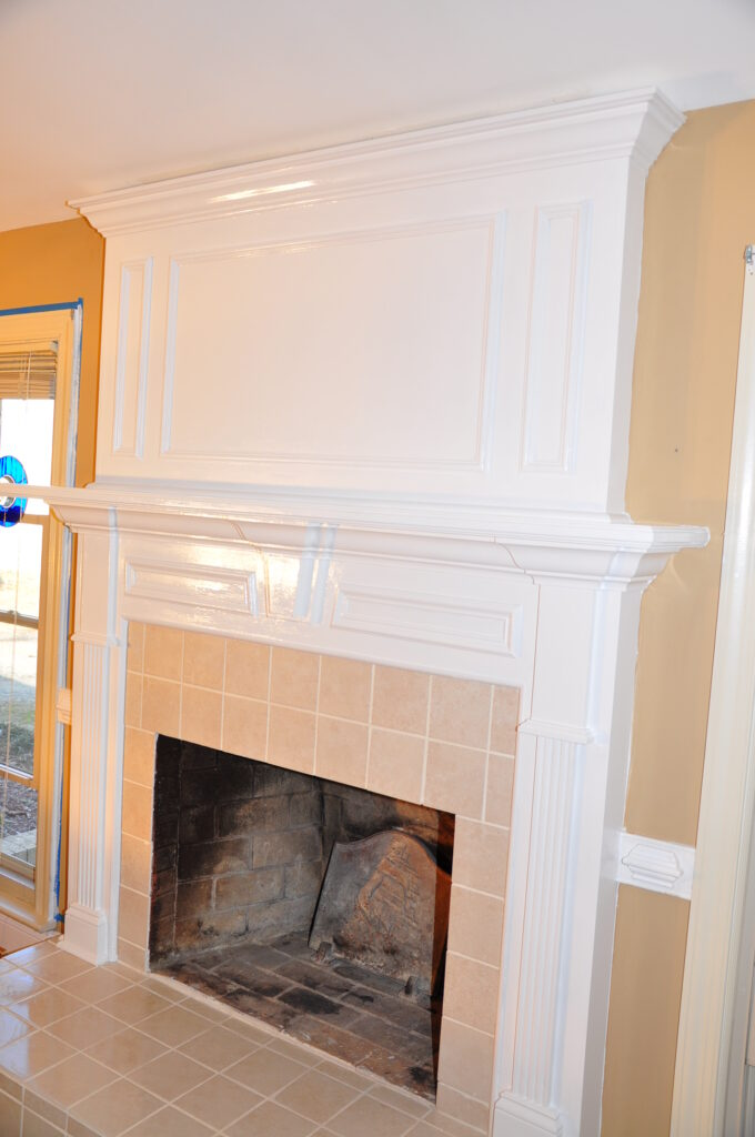 new white fireplace mantle