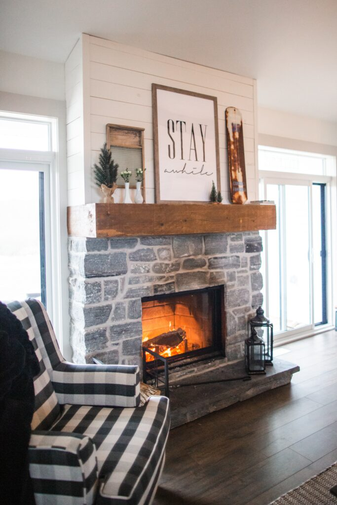 fireplace with wooden mantle