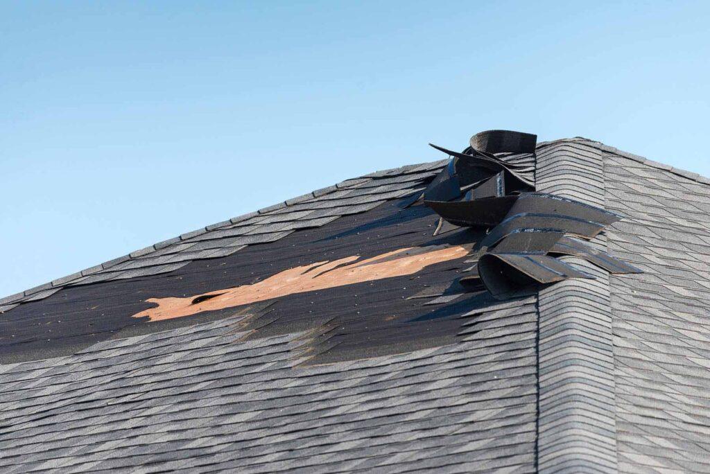 Roof damage on asphalt shingled roof
