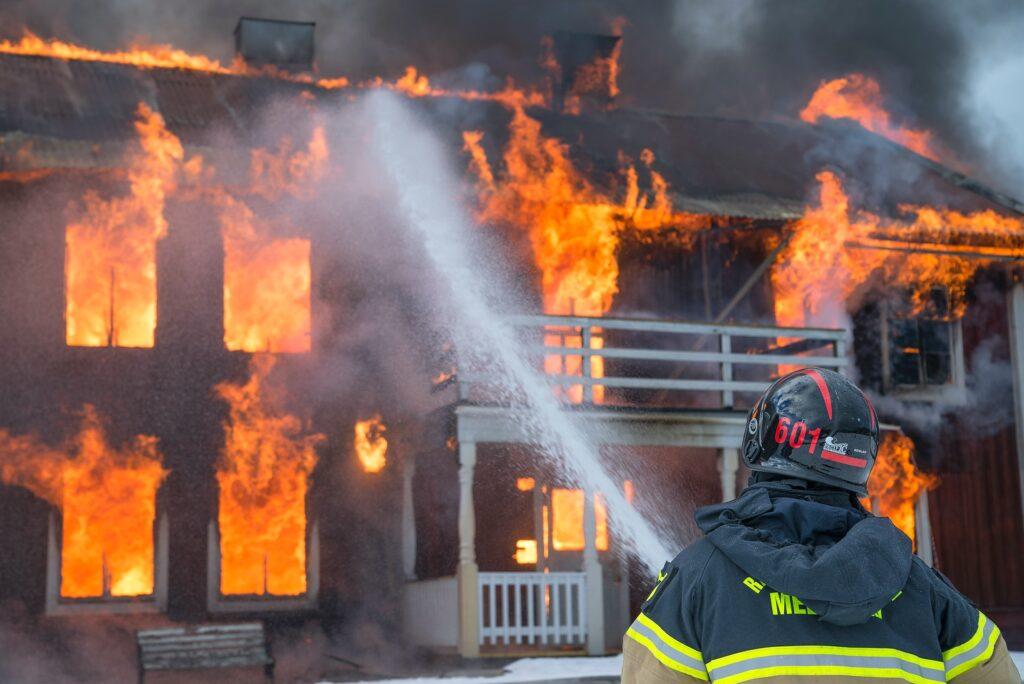 house fire with smoke