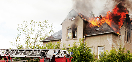 residential home on fire