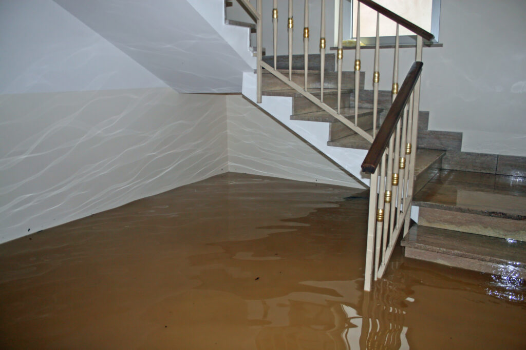 house flood shown at the foot of the stairs