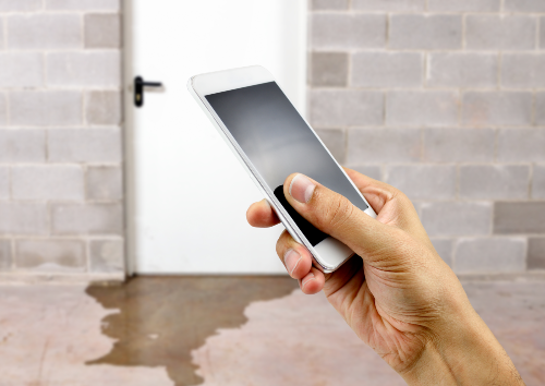 Man holding smartphone in front of water leaking under door