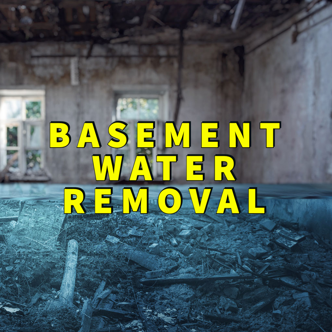 basement water removal written in yellow over flooded basement